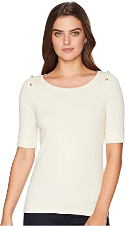 Button-Shoulder Cotton Top
