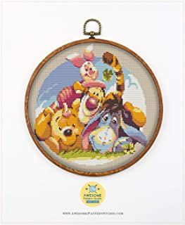 Dave Minion K730 Counted Cross Stitch KIT#3 Fabric Needles Embroidery Hoop and 4 Printed Color Schemes Inside Embroidery Pattern Kit Threads