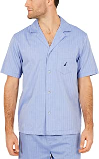 Men's Short Sleeve 100% Cotton Soft Woven Button Down Pajama Top