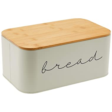 Bloomingville A97306650 Metal Bread Bin With Bamboo Lid, 11.75 L x 7 H, Grey