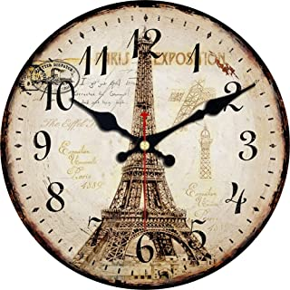 Shuaxin French Country Style Eiffel Tower Wooden Round Decorative Wall Clock (6