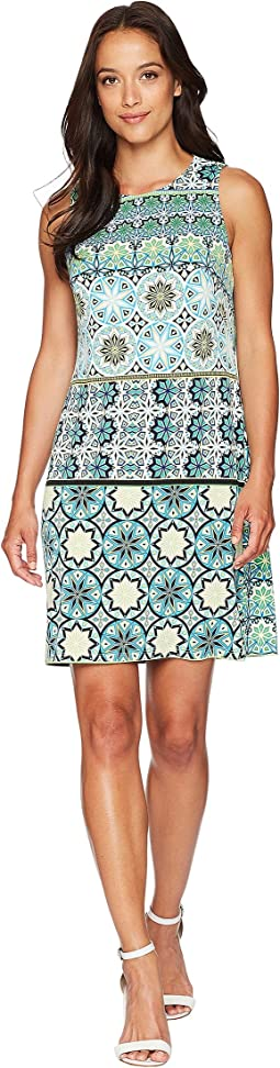 Matte Jersey Fiesta Tile Sleeveless Shift Dress