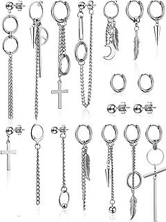 18 Pieces Hoop Dangle Earrings Hinged Pendant Earrings Stainless Steel Chain Drop Earrings Ear Studs for Men Women