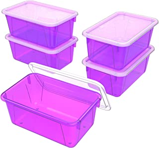Storex Small Cubby Bin with Cover, 8 x 12 x 5 Inches, Tint Violet, 5-Pack (62484U05C)