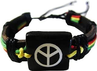 Rasta Peace Bracelet - Black Leather Bracelet -Jamaican Bracelet - Rastafari