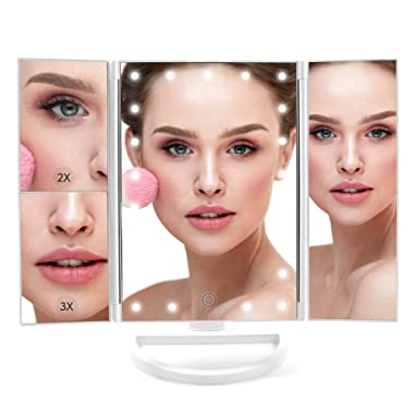 Lighted Makeup Mirror, LED Vanity Glam Make Up Mirror with Lights, Tri-Fold LED Makeup Beauty Mirror for Bathroom or Bedroom, Magnifying Beauty Mirror with LED Lighting - 9.5 x 1 x 13.5 Inches