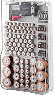 The Battery Organizer Storage Case with Hinged Clear Cover, Includes a Removable Battery Tester, Holds 93 Batteries Variou...