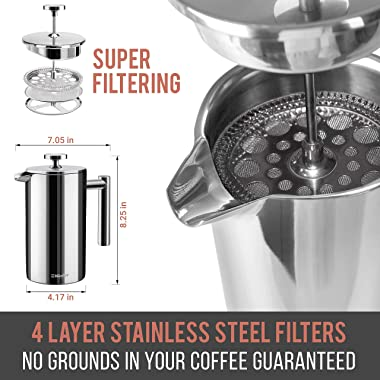 Mueller French Press Double Insulated 304 Stainless Steel Coffee Maker 4 Level Filtration System, No Coffee Grounds, Rust-Fre