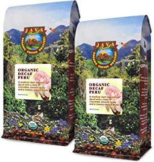 Java Planet - Decaf Coffee Peru USDA Organic Coffee Beans, Water Processed, Medium Dark Roast, Arabica Gourmet Coffee Grade A, packaged in 2 - 1 LB bags
