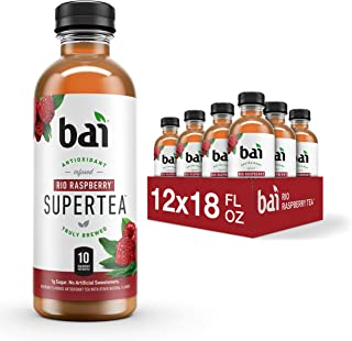 Bai Iced Tea, Rio Raspberry, Antioxidant Infused Supertea, Crafted with Real Tea (Black Tea, White Tea), 18 Fluid Ounce Bo...