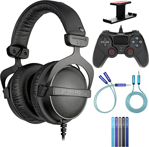 2021 Beyerdynamic DT 770 PRO 32 Ohm wholesale Over-Ear Studio Headphones Bundle with Blucoil USB Gaming Controller for Windows/Mac/PS4, high quality Y Splitter Cable, 6' 3.5mm Extension Cable, Headphone Hook, and 5X Cable Ties outlet online sale