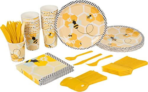 Bee Party Supplies – Serves 24 – Includes Plates, Knives, Spoons, Forks, Cups and Napkins. Perfect Birthday Party Pac...