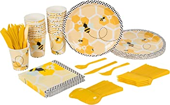 Bee Party Supplies – Serves 24 – Includes Plates, Knives, Spoons, Forks, Cups and Napkins. Perfect Birthday Party Pack for Kids Themed Parties and Baby Shower, Bumblebee Pattern