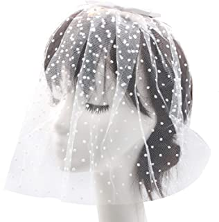WSSROGY Elegant Ribbon Bow Birdcage Wedding Veils Short with Comb Bridal Pearl Wedding Veil Headwear for Bride,White