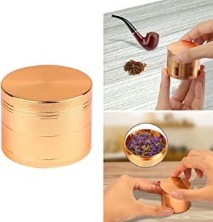 GPCT [Stainless Steel] Tobacco Herb Spice Grinder. 4.9 CM Tall, 4 Pieces, 3 Chambers, Pollen Catcher, Stive Scraper Included [Durable] Zinc Alloy Magnetic Top- Copper