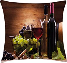 Ambesonne Wine Throw Pillow Cushion Cover, Glasses of Red and White Wine Served with Grapes French Gourmet Tasting, Decorative Square Accent Pillow Case, 18 X 18, Brown Ruby