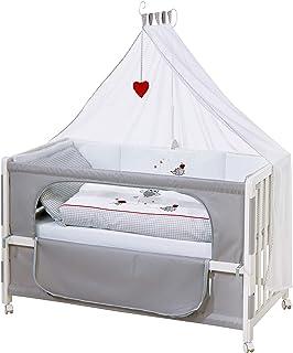"""roba Beistellbett, Roombed, Babybett 60x120 cm """"Adam & Eule"""", Anstellbett zum Elternbett mit kompletter Ausstattung"""