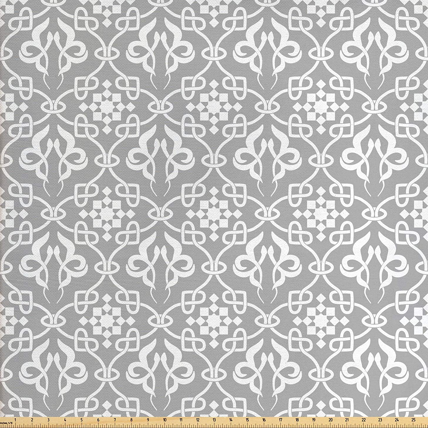 Ambesonne Irish Fabric by The Yard, Royal Antique Floral Figures Curves Old Fashioned Style Ancient Folkloric Tile, Decorative Fabric for Upholstery and Home Accents, 2 Yards, Grey and White