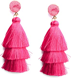 Colorful Layered Tassel Earrings Bohemian 3 Tier Big Dangle Drop Earrings for Women Girls Tiered Tassel Druzy Stud Earrings Women Gifts