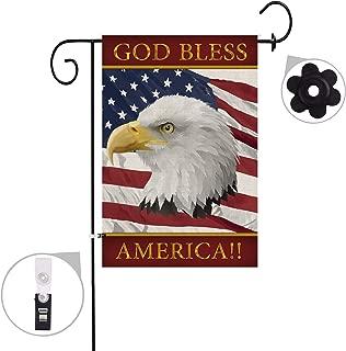 Hexagram America Eagle Garden Flag Burlap Double Sided Decorative God Bless America Yard Flag 12x18 inch Prime