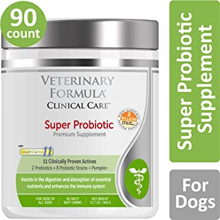 VETERINARY FORMULA CLINICAL CARE Premium Dog Supplement, Super Probiotic, 90 Soft Chews – Clinically Proven Dog Supplement, for Dogs, Assists in Digestion & Absorption