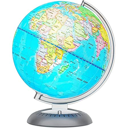 Illuminated World Globe For Kids With Stand Built In Led Light Illuminates For Night View Colorful Easy Read Labels Of Continents Countries Capitals Natural Wonders 8 Inch Diameter Office Products