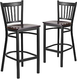 Flash Furniture 2 Pk. HERCULES Series Black Vertical Back Metal Restaurant Barstool - Walnut Wood Seat
