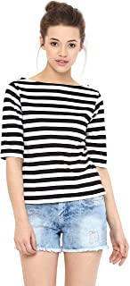 Miss Chase Women's Maroon and White Striped Top