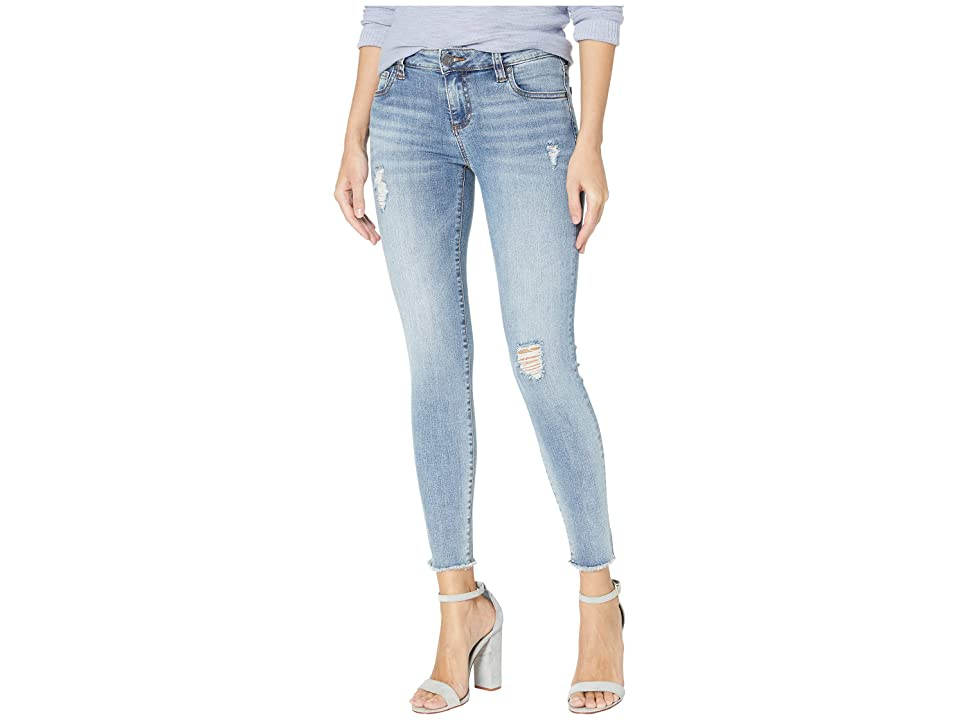 KUT from the Kloth Connie Ankle Skinny Jeans w/ Fray Hem in Unperturbed w/ Medium Base Wash (Unperturbed w/ Medium Base Wash) Women