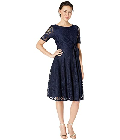 Tahari by ASL Petite Elbow Sleeve Stretch Lace Dress w/ Side Shirring (Navy) Women