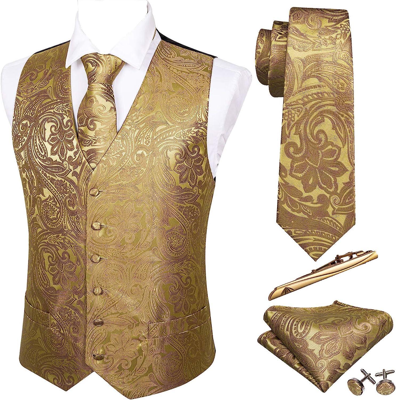 Barry.Wang Formal Men Vest Paisley Jacquard Silk Tie Suit Waistcoat Set Wedding 5PCS