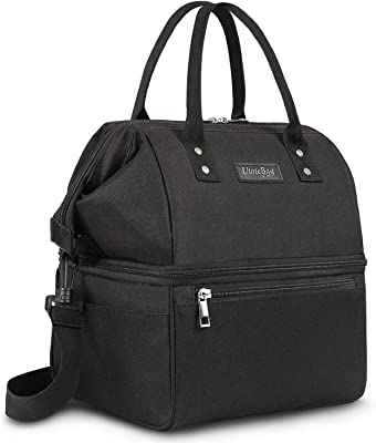 UTOTEBAG Double Deck Lunch Bag Leak Proof Insulated Lunch Box Large Cooler Tote Bag Thermal Snack Organizer with Removable Strap for Men Women, Black