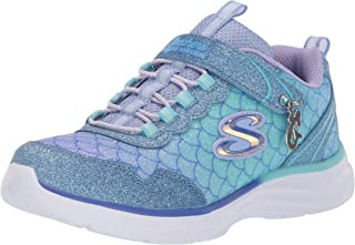 Skechers Glimmer Kicks - Sea Sparkle Girls Sneakers, Light Blue/Multi, 3 US