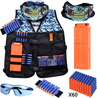 Hely Cancy Kids Tactical Vest Kit Compatible with Nerf Guns N-Strike Elite Series with Refill Darts, Reload Clips, Tactical Mask, Wrist Band and Protective Glasses for Boys