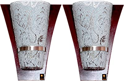 Imper!al Wood and Sparkle Glass Wall Light Wall Lamp Wall Scone Up-Lighter (Set of 2pcs)