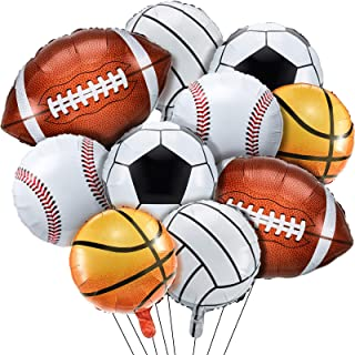 10 Pieces Sports Themed Foil Balloons Baseball, Basketball, Volleyball, Soccer and Football Foil Balloon Foil Mylar Party ...