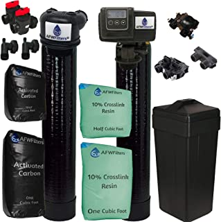 AFWFilters 56SXT-10% Combo Package Abundant Flow Built Fleck 5600SXT 48,000 Grain Water Softener with Upflow Filter (10% Resin with Carbon), Black
