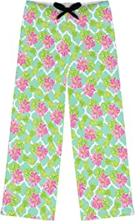 Preppy Hibiscus Womens Pajama Pants - M (Personalized) Green