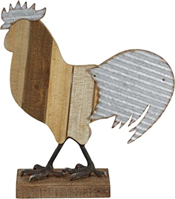 Deco 79 59452 Metal and Wood Rooster Sculpture, Gray/Brown/Black