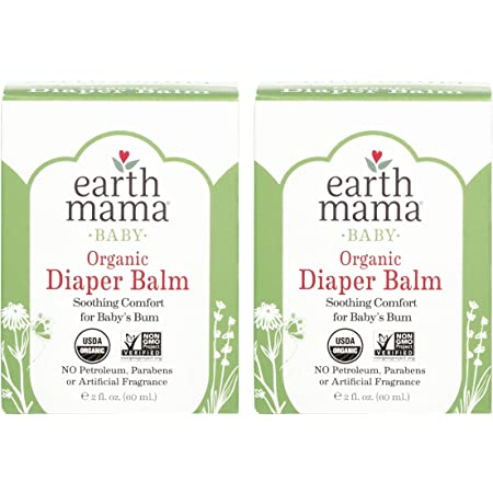 Organic Diaper Balm by Earth Mama | Safe Calendula Cream to Soothe and Protect Sensitive Skin, Non-GMO Project Verified, 2-Fluid Ounce (2-Pack)