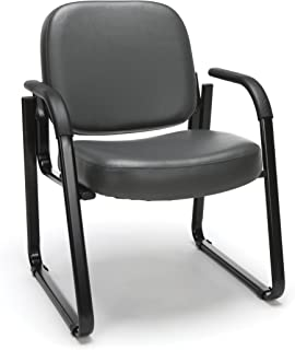OFM Reception Chair with Arms - Anti-Microbial/Anti-Bacterial Vinyl Guest Chair, Charcoal