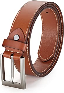 Men's Brown Leather Belt for Jeans or Business Casual - Handmade Genuine Leather Belt - by Handsome Factory Belts