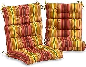 South Pine Porch AM6809S2-KINNABARI Kinnabari Stripe Outdoor High Back Chair Cushion, Set of 2