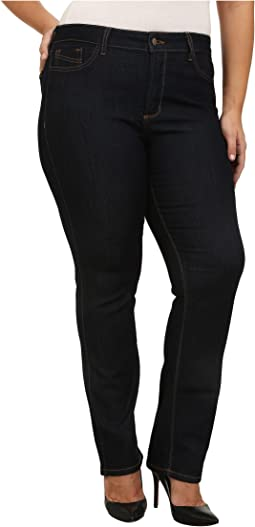 NYDJ Plus Size Plus Size Marilyn Straight Contrast Stitching in Dark Enzyme