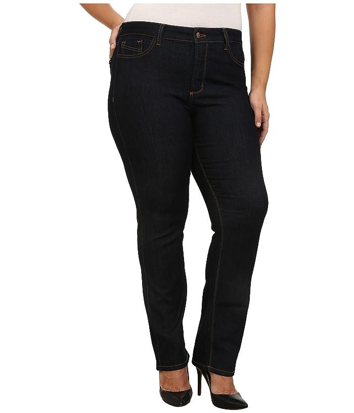 NYDJ Plus Size Plus Size Marilyn Straight Contrast Stitching in Dark Enzyme (Dark Enzyme) Women's Jeans