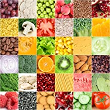 LFEEY 5x5ft Fruits Vegetables Mosaic Backdrop for Photos All Kinds of Healthy Food Fruit Cereal Pattern Backgrounds for Photography Kids Adults Party Events Decoration Wallpaper Photo Studio Props