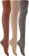 Lian LifeStyle Women's 3 Pairs Adorable Thigh High Cotton Socks J1025 Size 6-9