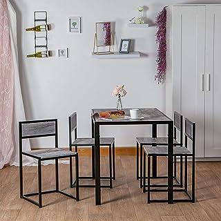Harbour Housewares 4 Persona Mesa de Comedor y sillas Conjunto - Mueble de Cocina Compacto Que Ahorra Espacio Estilo Moderno - Madera Ligera