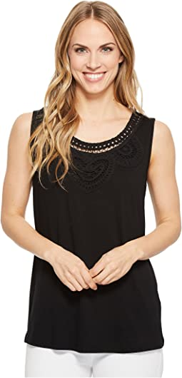 Sleeveless Jersey Top with Soutache Detail