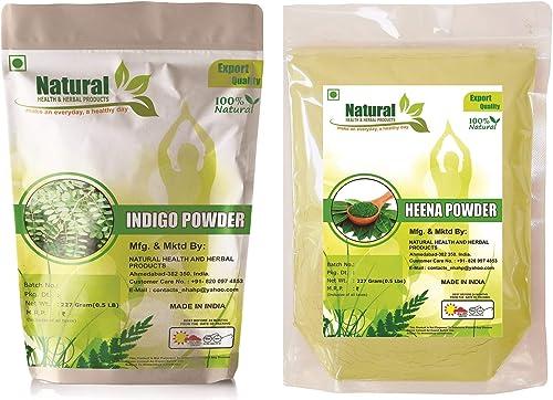 Natural Health And Herbal Products Natural Henna Powder And Natural Indigo Leaves Powder 227 G Pack Of 2